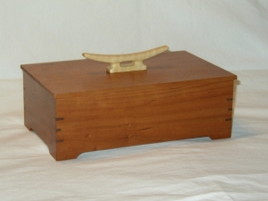 Curly Maple Cleat Handle on Cherry Box